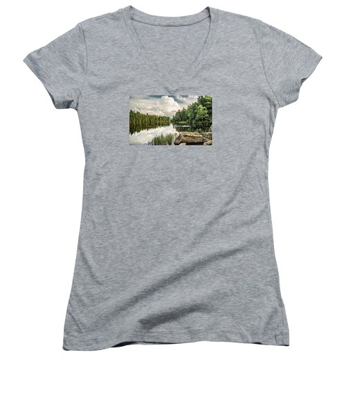 Women's V-Neck T-Shirt (Junior Cut) featuring the photograph Reflection Lake In New York by Debbie Green