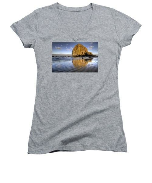 Reflection Of Haystack Rock At Cannon Beach 2 Women's V-Neck (Athletic Fit)