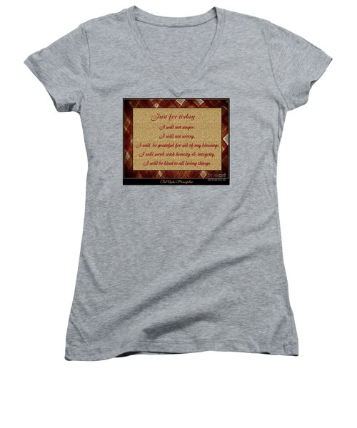 Reiki Principles Women's V-Neck T-Shirt (Junior Cut) by Bobbee Rickard
