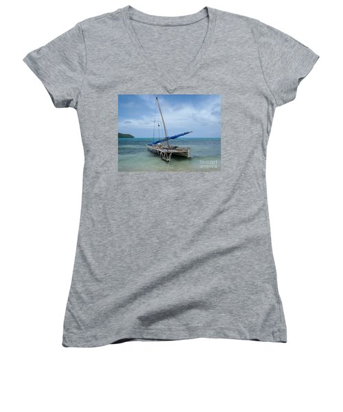 Relaxing After Sail Trip Women's V-Neck T-Shirt (Junior Cut) by Jola Martysz