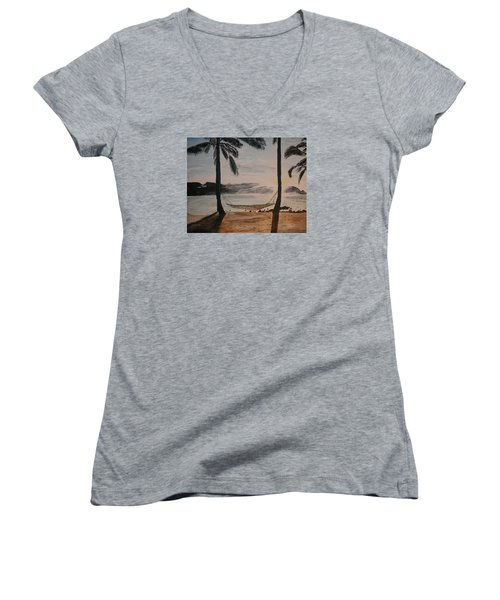 Relaxing At The Beach Women's V-Neck T-Shirt (Junior Cut) by Ian Donley