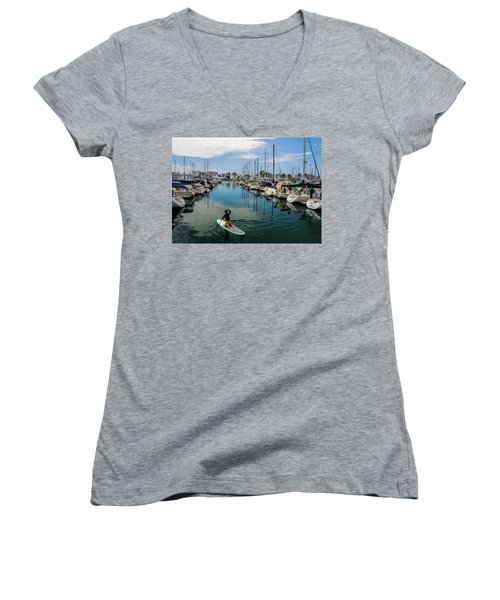 Women's V-Neck T-Shirt (Junior Cut) featuring the photograph Relaxing Day by Tammy Espino