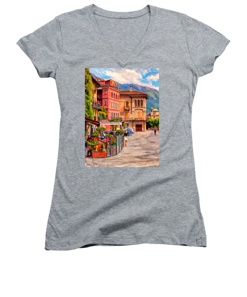 Relaxing In Baveno Women's V-Neck T-Shirt (Junior Cut) by Michael Pickett