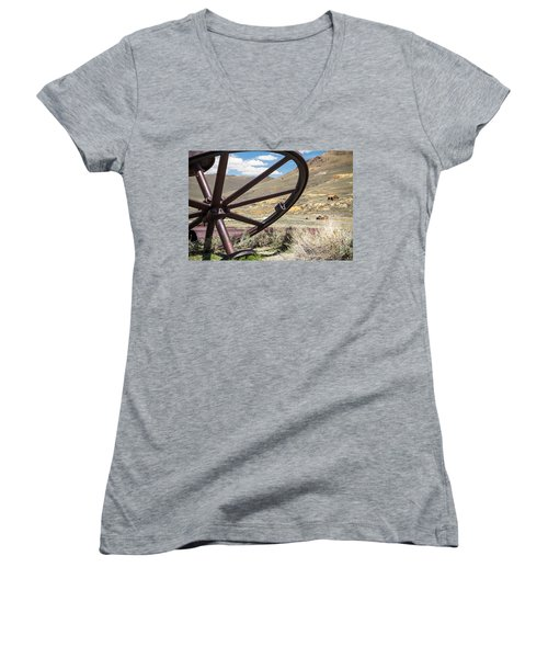 Women's V-Neck T-Shirt (Junior Cut) featuring the photograph Relics Of Bodie by Steven Bateson