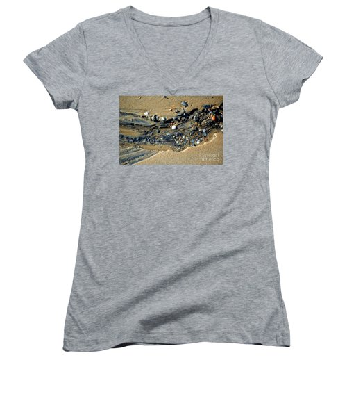 Women's V-Neck T-Shirt featuring the photograph Remants by Christiane Hellner-OBrien