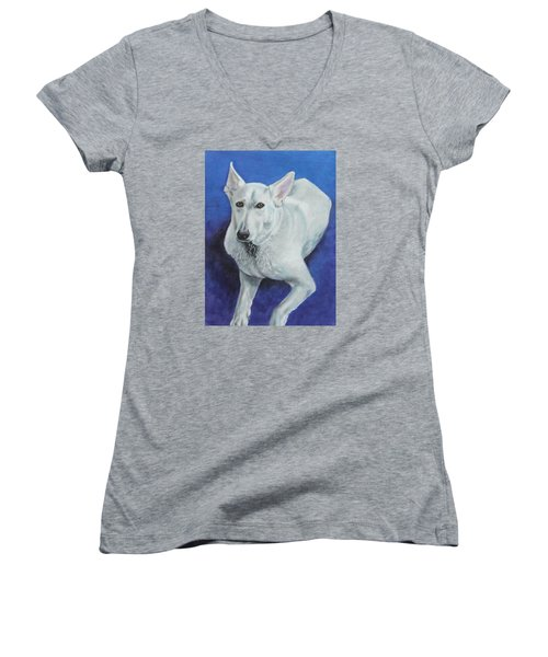 Women's V-Neck T-Shirt (Junior Cut) featuring the painting Reno by Jeanne Fischer