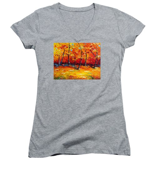 Women's V-Neck T-Shirt (Junior Cut) featuring the painting Resting In Your Shadow by Meaghan Troup