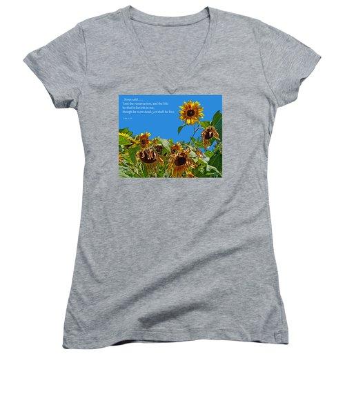 Resurrected Life Women's V-Neck T-Shirt (Junior Cut) by Tikvah's Hope