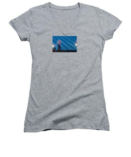 Reunion Tower Women's V-Neck T-Shirt (Junior Cut) by Darryl Dalton