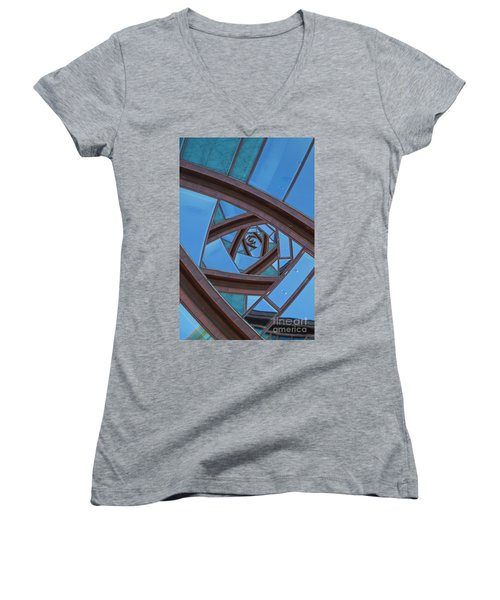 Women's V-Neck T-Shirt (Junior Cut) featuring the photograph Revolving Blues. by Clare Bambers