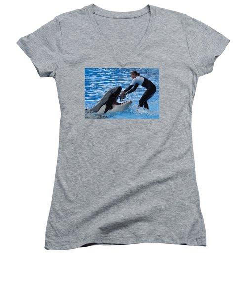 Women's V-Neck T-Shirt (Junior Cut) featuring the photograph Reward by David Nicholls