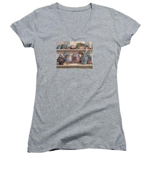 Rhapsody In Rose Women's V-Neck T-Shirt (Junior Cut)