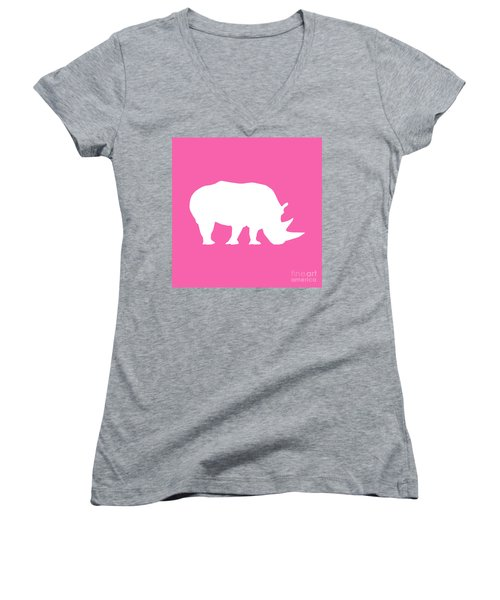 Rhino In Pink And White Women's V-Neck T-Shirt