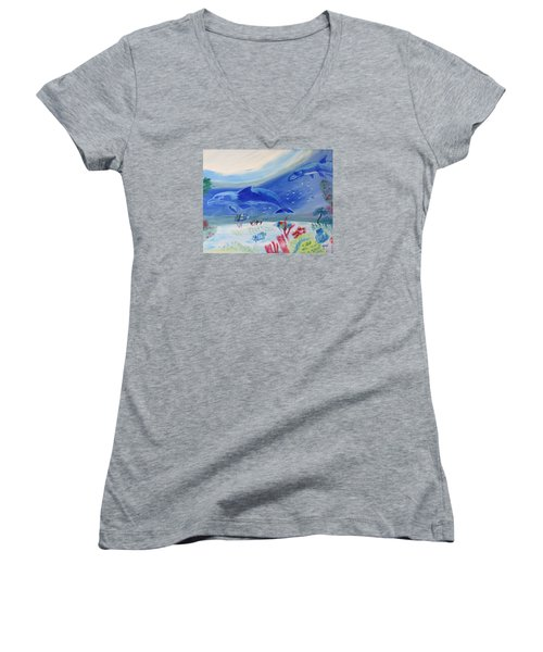 Women's V-Neck T-Shirt (Junior Cut) featuring the painting Rhythm Of The Sea by Meryl Goudey