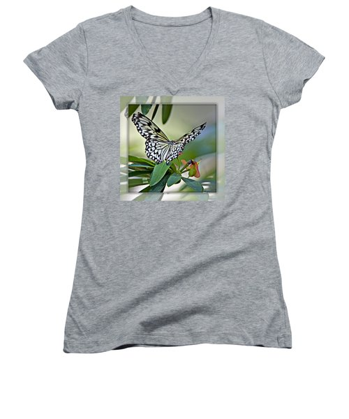 Rice Paper Butterfly 2b Women's V-Neck T-Shirt
