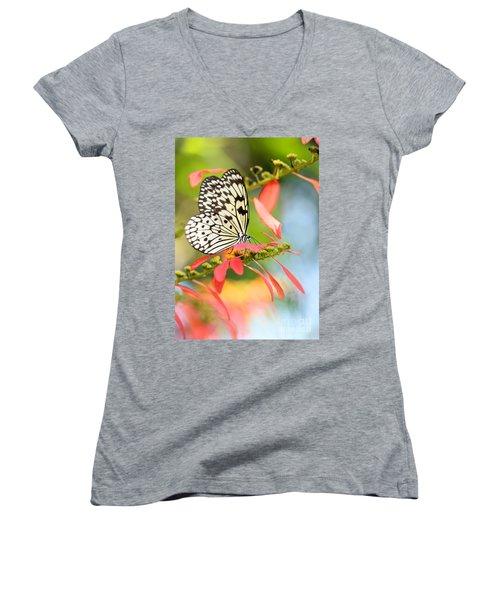 Rice Paper Butterfly In The Garden Women's V-Neck T-Shirt