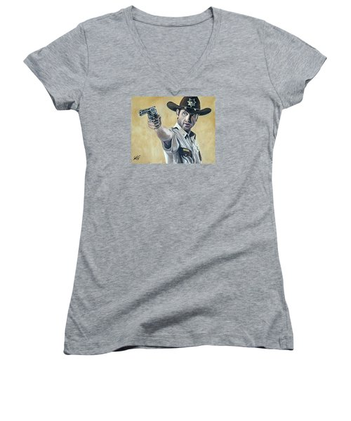 Rick Grimes Women's V-Neck T-Shirt (Junior Cut) by Tom Carlton