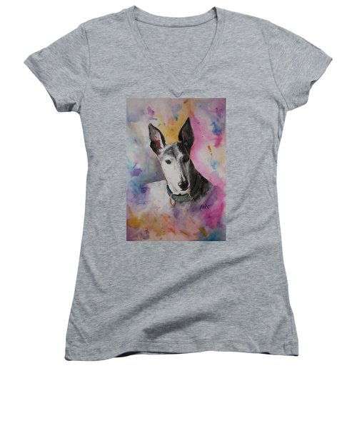 Women's V-Neck T-Shirt (Junior Cut) featuring the painting Riding The Rainbow by Rachel Hames