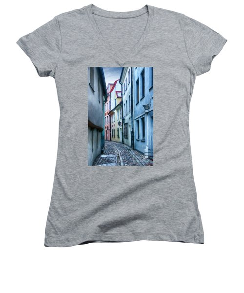 Riga Narrow Street Painting Women's V-Neck T-Shirt (Junior Cut) by Antony McAulay