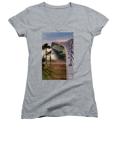 Ringling Causeway Bridge Overlook Women's V-Neck (Athletic Fit)