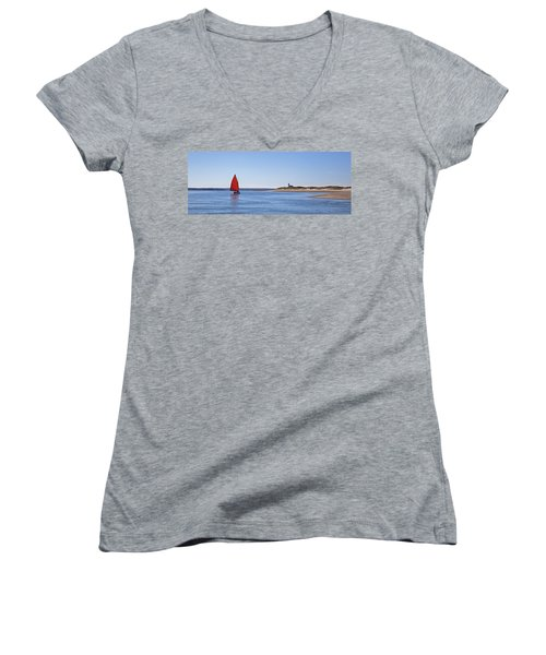 Ripple Catboat With Red Sail And Lighthouse Women's V-Neck