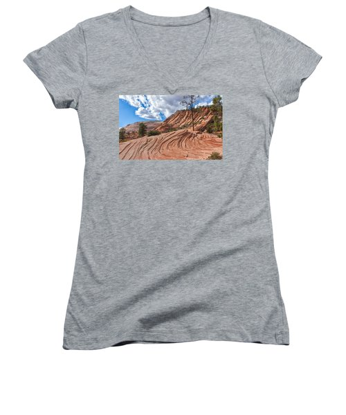 Women's V-Neck T-Shirt (Junior Cut) featuring the photograph Rippled Rock At Zion National Park by John M Bailey