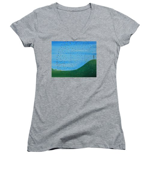 Women's V-Neck T-Shirt (Junior Cut) featuring the painting Ripples Of Life 2 by Tim Mullaney