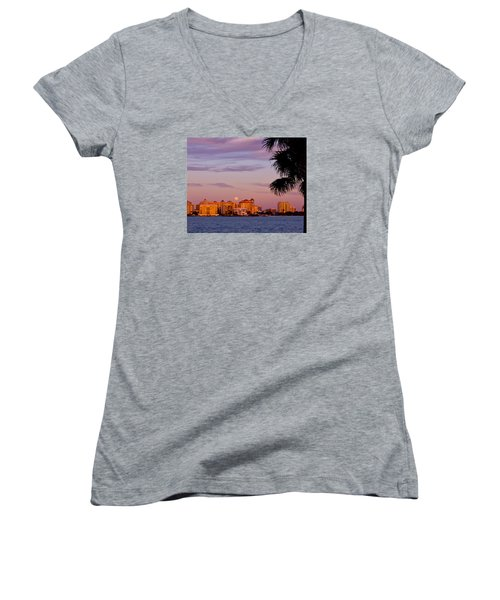 Rising Full Moon Sunset Sarasota Cityscape Women's V-Neck (Athletic Fit)