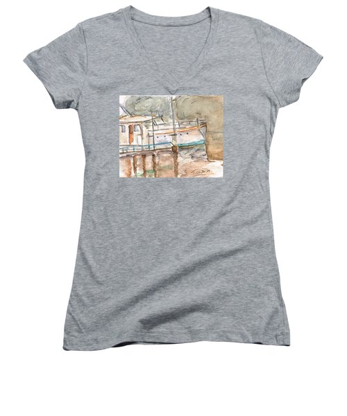 Women's V-Neck T-Shirt (Junior Cut) featuring the painting River Boat  by Teresa White