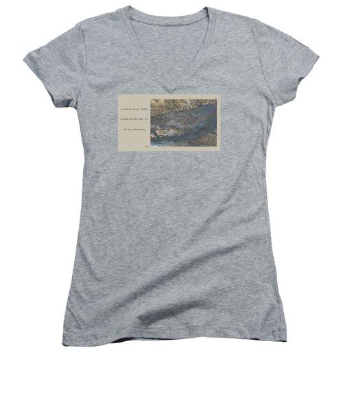 Women's V-Neck T-Shirt (Junior Cut) featuring the digital art River Delta Haiga by Judi and Don Hall
