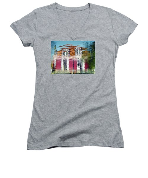 Women's V-Neck featuring the photograph River House by Luc Van de Steeg