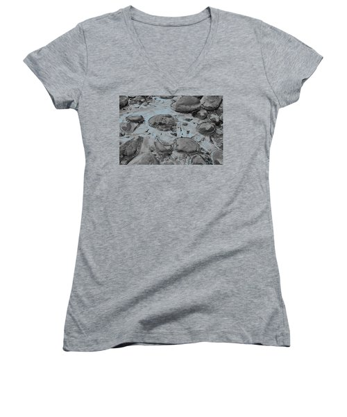 River Ice Blue Women's V-Neck T-Shirt (Junior Cut) by Jeremy Rhoades