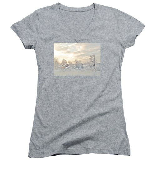 River Mist On A Very Cold New Hampshire Morning Women's V-Neck (Athletic Fit)