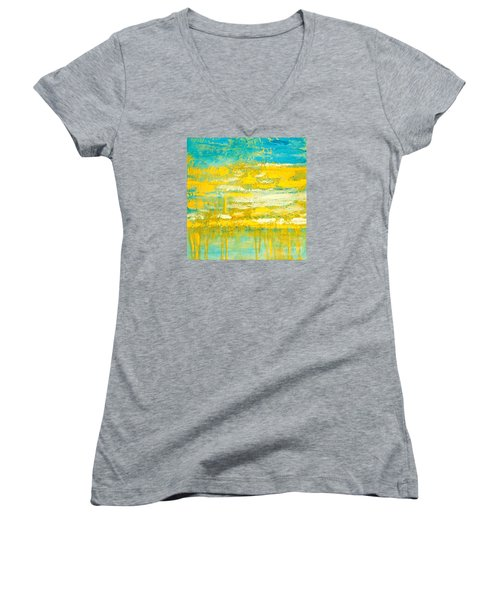 Women's V-Neck T-Shirt (Junior Cut) featuring the painting River Of Praise by Donna Dixon