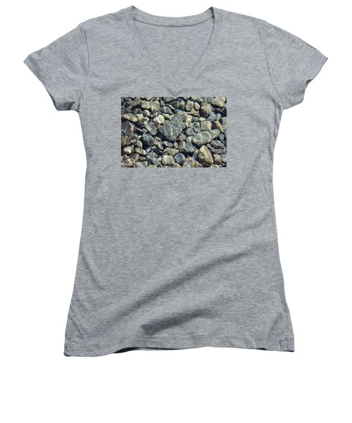 Women's V-Neck T-Shirt (Junior Cut) featuring the photograph River Rocks One by Chris Thomas