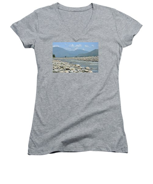 Riverbank Water Rocks Mountains And A Horseman Swat Valley Pakistan Women's V-Neck T-Shirt