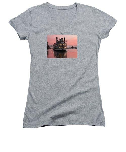 Riverboat At Sunset Women's V-Neck T-Shirt (Junior Cut) by Cynthia Guinn