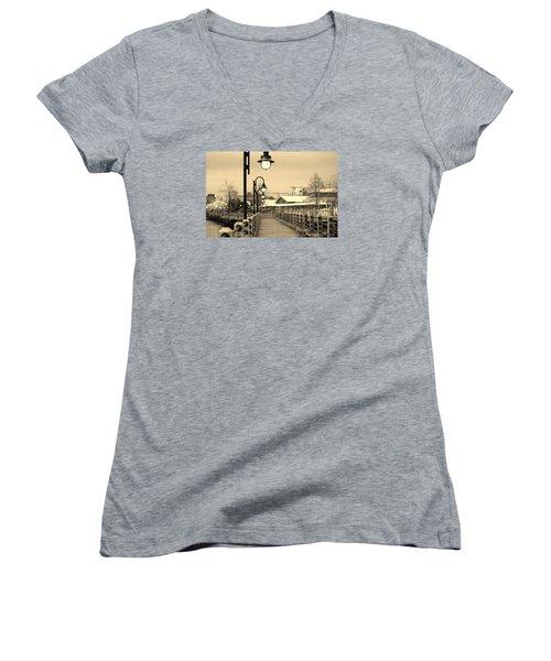 Riverfront Women's V-Neck T-Shirt (Junior Cut) by Cynthia Guinn