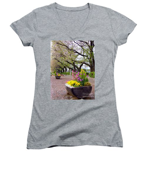 Women's V-Neck T-Shirt (Junior Cut) featuring the photograph Road Of Flowers by Andrea Anderegg