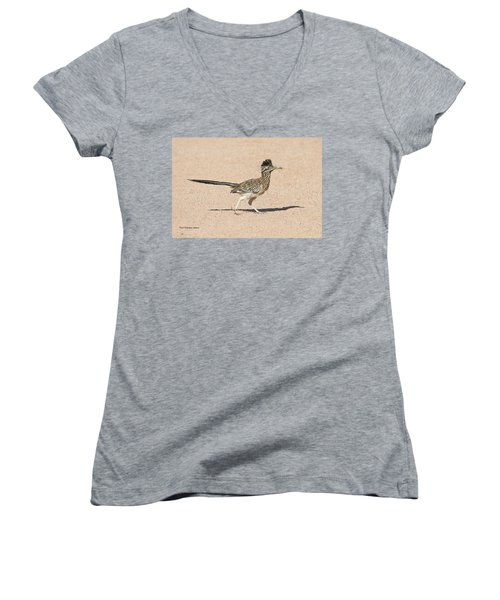 Women's V-Neck T-Shirt (Junior Cut) featuring the photograph Road Runner On The Road by Tom Janca