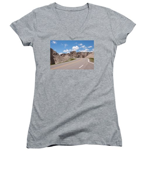 Road Through The Badlands Women's V-Neck (Athletic Fit)