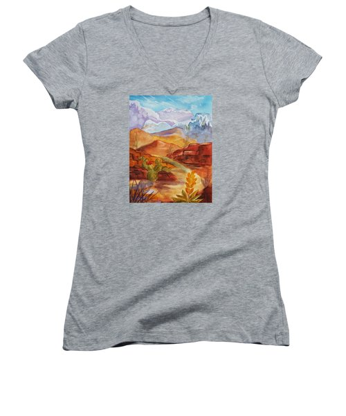 Women's V-Neck T-Shirt (Junior Cut) featuring the painting Road To Nowhere by Ellen Levinson
