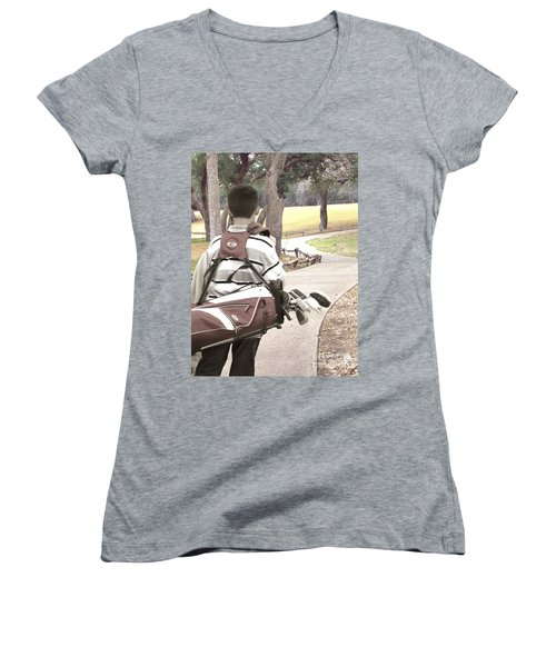 Women's V-Neck T-Shirt (Junior Cut) featuring the photograph Road To Success - Inspirational Art by Ella Kaye Dickey