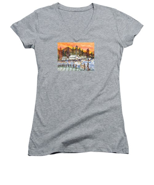 Women's V-Neck T-Shirt (Junior Cut) featuring the painting Road To The Oregon Coast by Connie Valasco