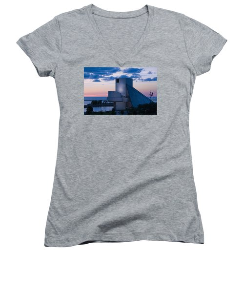 Women's V-Neck featuring the photograph Rock And Roll Hall Of Fame by Dale Kincaid