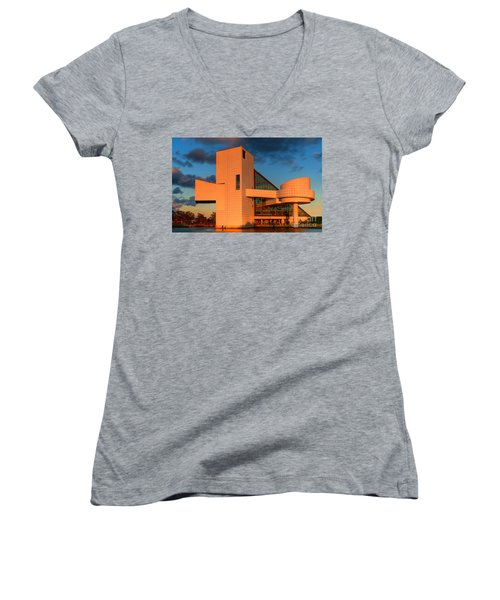 Women's V-Neck T-Shirt (Junior Cut) featuring the photograph Rock And Roll Hall Of Fame by Jerry Fornarotto