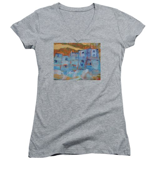 Rock City Abstract Women's V-Neck T-Shirt (Junior Cut)