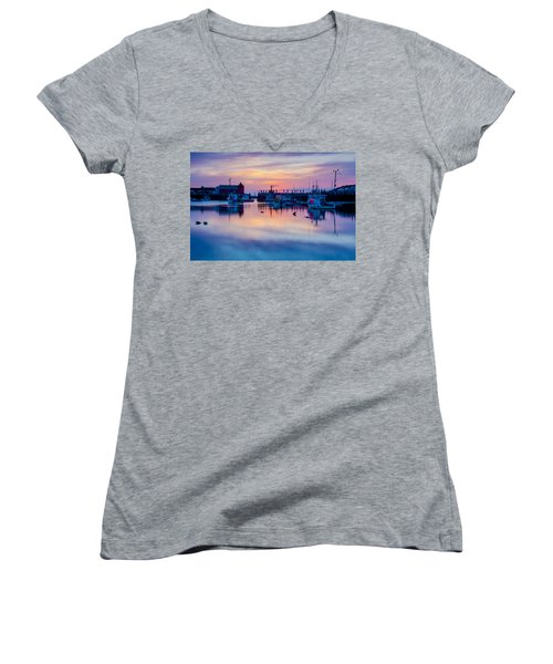 Women's V-Neck T-Shirt (Junior Cut) featuring the photograph Rockport Harbor Sunrise Over Motif #1 by Jeff Folger