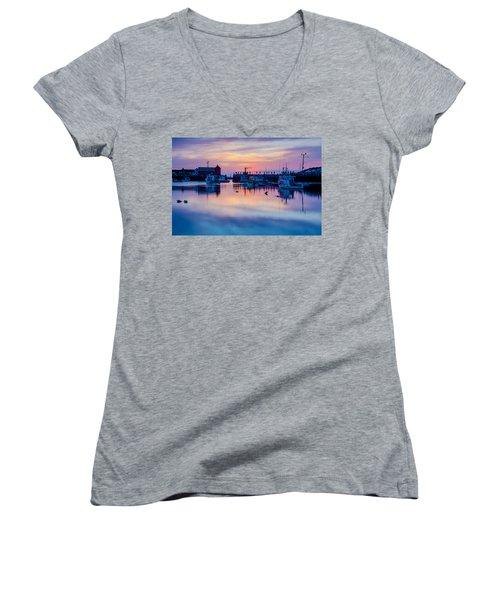 Rockport Harbor Sunrise Over Motif #1 Women's V-Neck T-Shirt (Junior Cut) by Jeff Folger