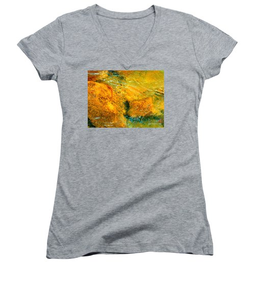 Rocks Under The Stream By Christopher Shellhammer Women's V-Neck